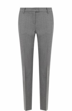 Шерстяные брюки прямого кроя со стрелками Windsor. Цвет: серый