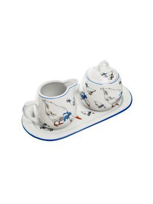 Кофейный набор на подносе, 3 предмета в п/у. Elff Ceramics. Цвет: синий, белый