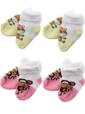 Носки детские махровые ,комплект 4 пары Malerba. Цвет: салатовый, розовый