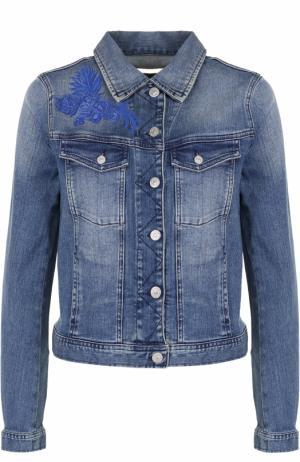 Джинсовая куртка с вышивкой и потертостями 7 For All Mankind. Цвет: синий