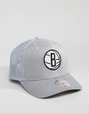 Mitchell & Ness Кепка 110 Flexfit Brooklyn Nets. Цвет: серый