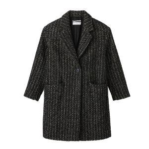 Пальто длинное POMANDERE. Цвет: черный/ белый