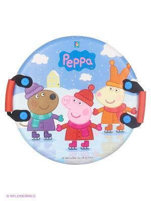 Ледянка Peppa  круглая, с плотными ручками , 54 см 1Toy. Цвет: голубой, светло-серый, темно-бежевый