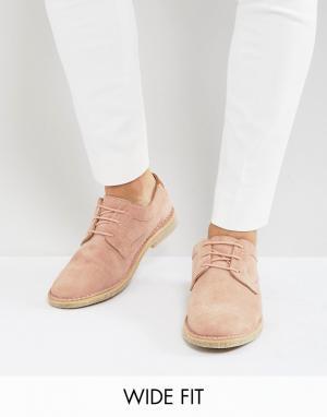 ASOS Розовые замшевые дерби с отделкой из светло-коричневой кожи на каблуке. Цвет: розовый