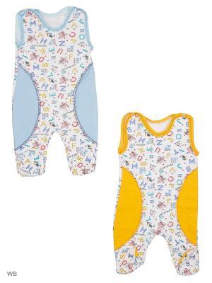 Ползунки 2 штуки Babycollection. Цвет: салатовый, голубой, желтый
