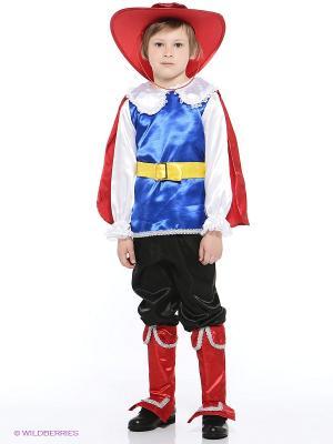 Карнавальный костюм Кот в сапогах Батик. Цвет: красный, черный, синий