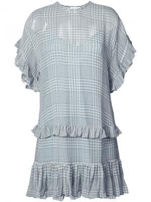 Платье с оборками Zimmermann. Цвет: синий