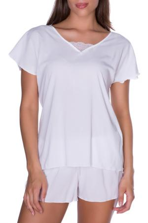 Шорты домашние Rose&Petal Homewear. Цвет: белый