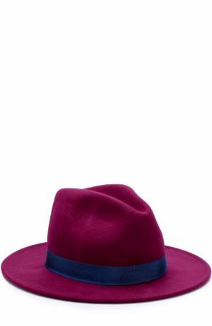 Шерстяная шляпа с лентой и брошью Roberto Cavalli. Цвет: фуксия