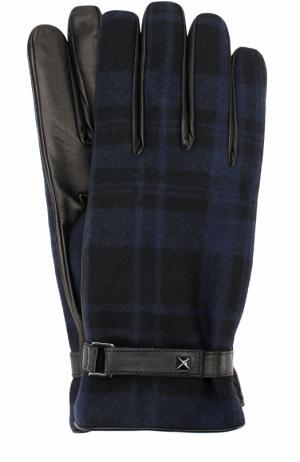 Кожаные перчатки с шерстяной отделкой в клетку Valentino. Цвет: темно-синий