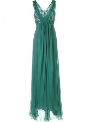 Длинное платье с кружевной отделкой Alberta Ferretti. Цвет: зелёный