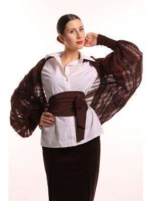 Болеро вязаное безразмерное Тончайшая Паутинка Горький Шоколад из мохера SEANNA. Цвет: темно-коричневый