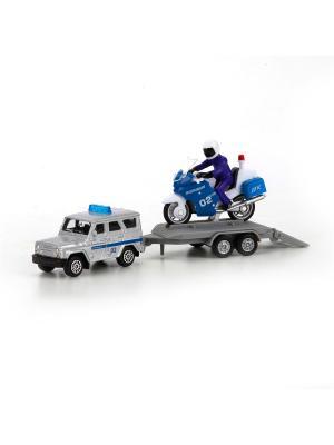 Набор металлических машин Полиция Уаз с мотоциклом на прицепе. Технопарк. Цвет: серебристый, белый, синий