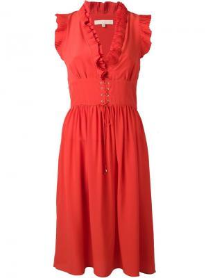 Платье со шнуровкой Vanessa Bruno. Цвет: красный