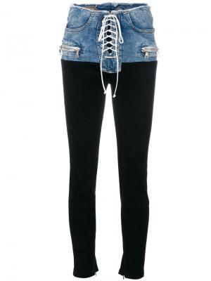 Байкерские брюки с контрастной джинсовой вставкой Unravel Project. Цвет: чёрный