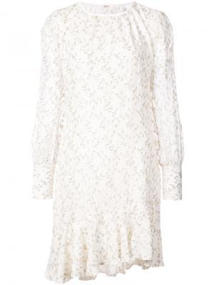 Асимметричное платье с длинными рукавами и оборкой Derek Lam 10 Crosby. Цвет: белый
