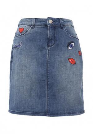 Юбка джинсовая Tom Tailor. Цвет: синий