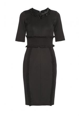 Платье из вискозы с украшением 180486 Cristina Effe. Цвет: черный