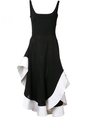 Платье с контрастной окантовкой Esteban Cortazar. Цвет: чёрный