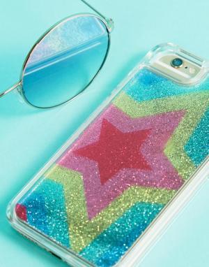Skinnydip Чехол для iPhone 6/7/8 с разноцветными блестящими звездами. Цвет: мульти