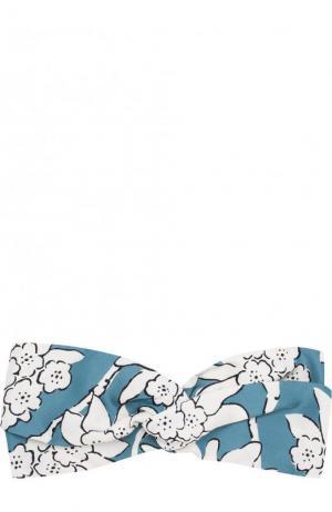 Шелковая повязка на голову с принтом Valentino. Цвет: бирюзовый
