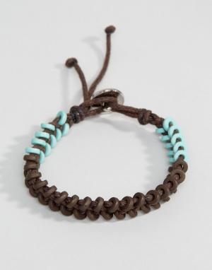 Icon Brand Коричнево-зеленый вощеный браслет-шнурок. Цвет: коричневый