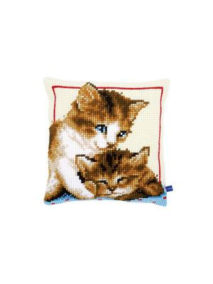 Набор для вышивания лицевой стороны наволочки Котята 40*40см Vervaco. Цвет: белый, голубой, коричневый