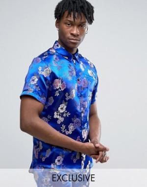Reclaimed Vintage Парчовая рубашка стандартного кроя. Цвет: синий