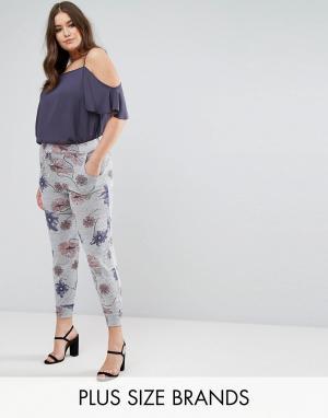 Koko Серые трикотажные брюки с цветочным принтом и эластичным поясом. Цвет: мульти