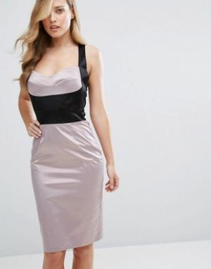 Elise Ryan Атласное платье-футляр с лифом в стиле корсета. Цвет: мульти