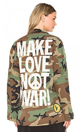 Куртка make love not war Madeworn. Цвет: военный стиль