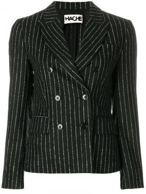 Двубортный пиджак в полоску Hache. Цвет: чёрный