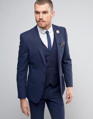 Harry Brown Твидовый пиджак с добавлением шерсти. Цвет: темно-синий