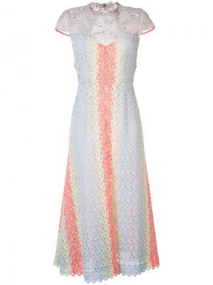 Embellished sheer flared dress Gabriela Hearst. Цвет: синий