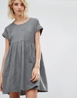 Gat Rimon Платье с короткими рукавами из хлопка начесом Mala. Цвет: серый