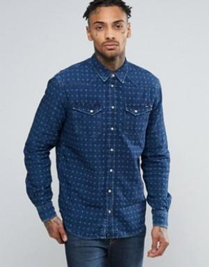 Pepe Jeans Жаккардовая джинсовая рубашка слим. Цвет: темно-синий