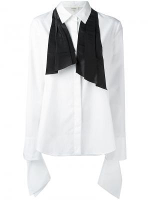 Классическая рубашка с бантом из тафты Isa Arfen. Цвет: белый