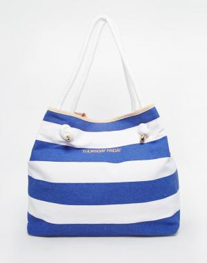 Thursday Friday Парусиновая пляжная сумка в полоску. Цвет: темно-синий