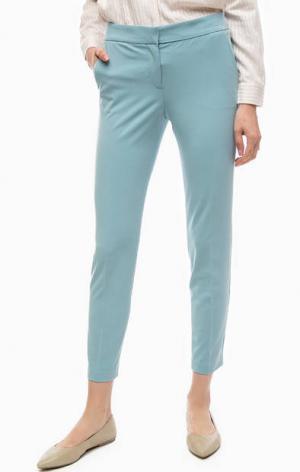 Укороченные классические брюки Stefanel. Цвет: синий