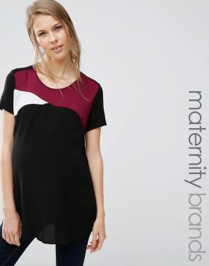New Look Maternity Атласная футболка для беременных в стиле колор блок. Цвет: красный