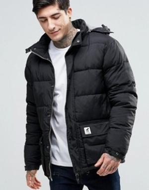 Fat Moose Стеганая куртка со съемным капюшоном Urban Heat. Цвет: черный