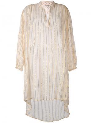 Удлиненная рубашка с отделкой металлик Mes Demoiselles. Цвет: белый