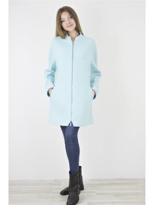 Пальто Elema. Цвет: бирюзовый