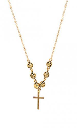 Ожерелье celine cross Vanessa Mooney. Цвет: золотой