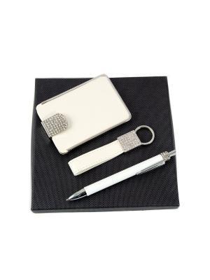 Подарочный набор: ручка, визитница, брелок Русские подарки. Цвет: белый