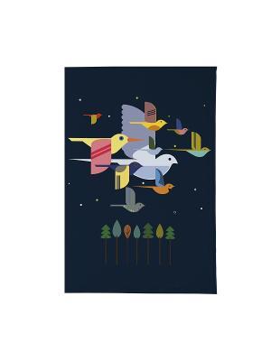 Визитница Птицы на синем Арт. VIZIT173 Mitya Veselkov. Цвет: белый, черный