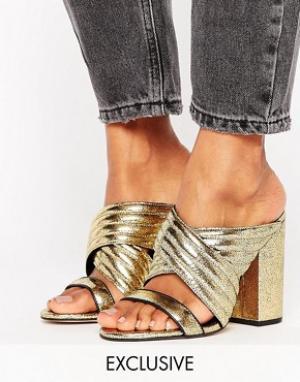 Office Золотистые кожаные сабо на каблуке Sierra. Цвет: золотой