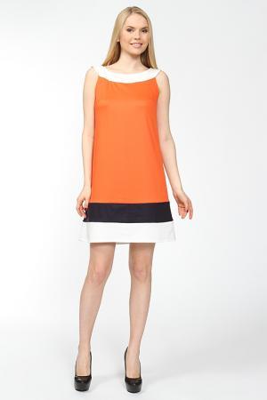 Прямое комбинированное платье Arrangee. Цвет: оранжевый