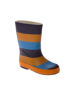 Резиновые сапоги PlayToday. Цвет: голубой, оранжевый