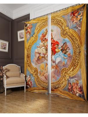 Фотошторы Фреска в храме Италии, Блэкаут Сирень. Цвет: зеленый, белый, голубой, желтый, оранжевый, серый